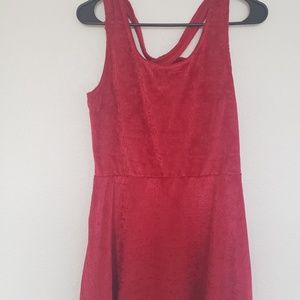 Red Velvet Mini Dress with Criss Cross Back